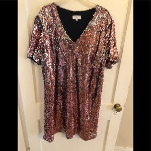 Jcrew sequin pink/silver dress xl. 14/16